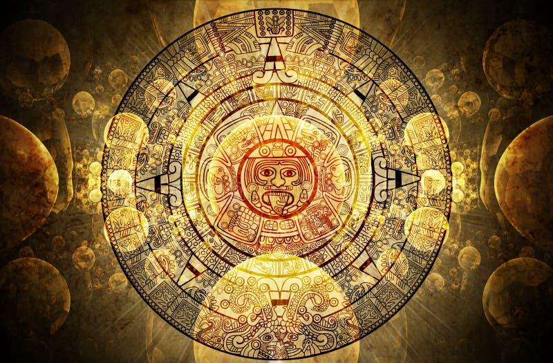 Maya prophecy. Horizontal background with Maya calendar royalty free stock photos