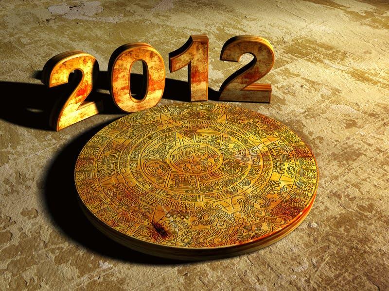 Maya prophecy. Stone Maya calendar and numbers 2012. 3d vector illustration
