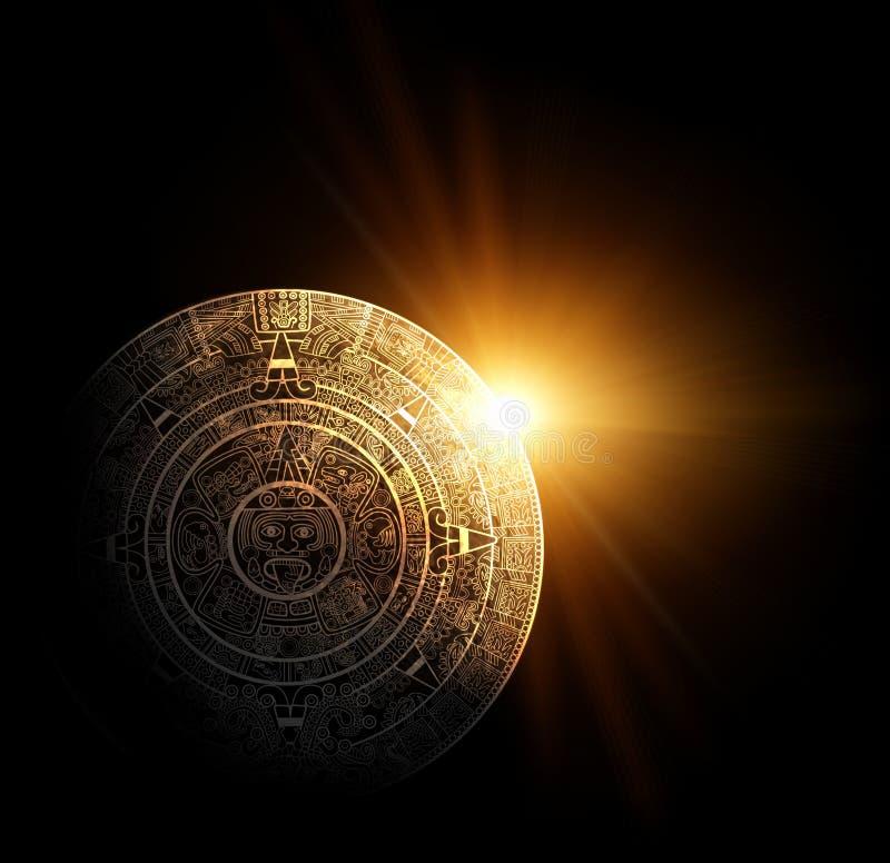 Maya prophecy. Sun and Maya calendar. 3d render stock illustration