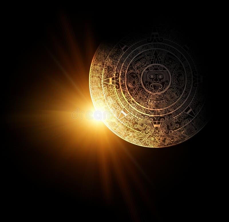 Maya prophecy. Sun and Maya calendar. 3d render royalty free illustration