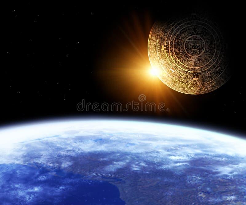 Maya prophecy. Horizontal background with Maya calendar and Earth stock illustration