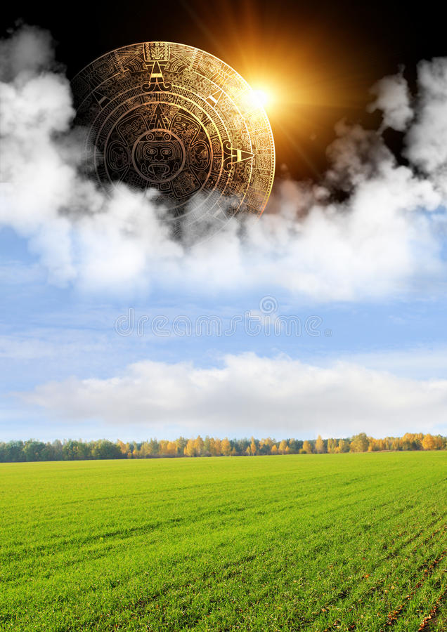 Maya prophecy. Vertical background with Maya calendar and autumn landscape vector illustration
