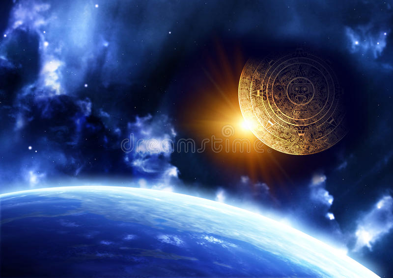 Maya prophecy. Horizontal background with Maya calendar and Earth royalty free illustration