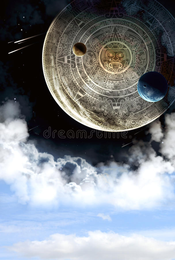 Maya prophecy. Vertical background with Maya calendar and cloud stock illustration