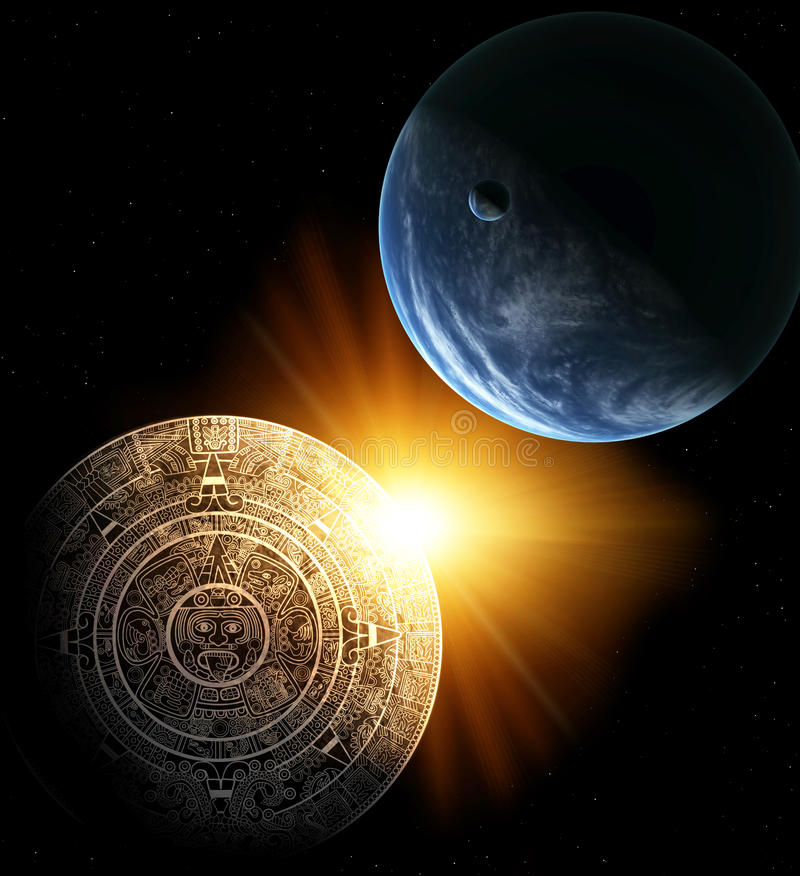 Maya prophecy. Vertical background with Maya calendar and Earth stock illustration