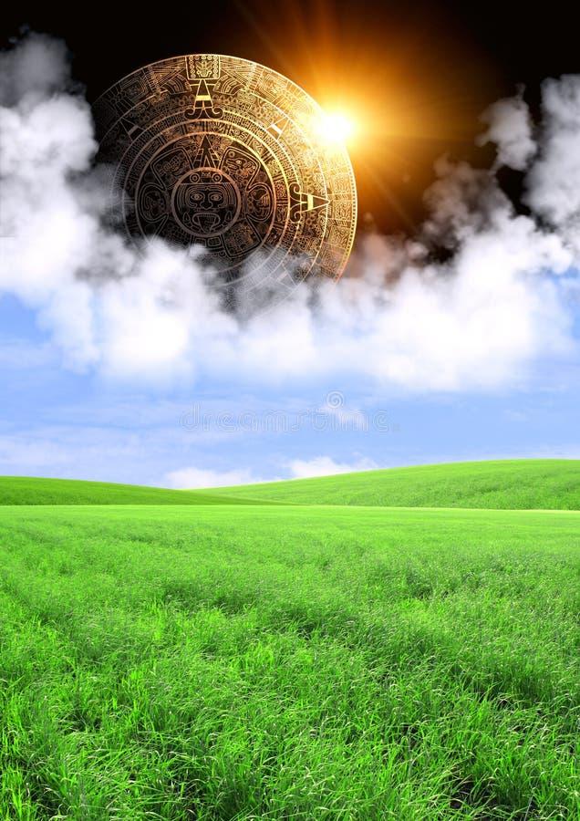 Maya prophecy. Vertical background with Maya calendar and summer landscape vector illustration