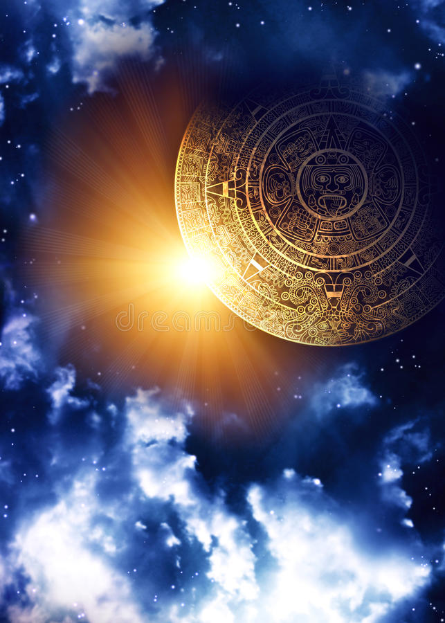 Maya prophecy. Vertical background with Maya calendar and space scene stock illustration