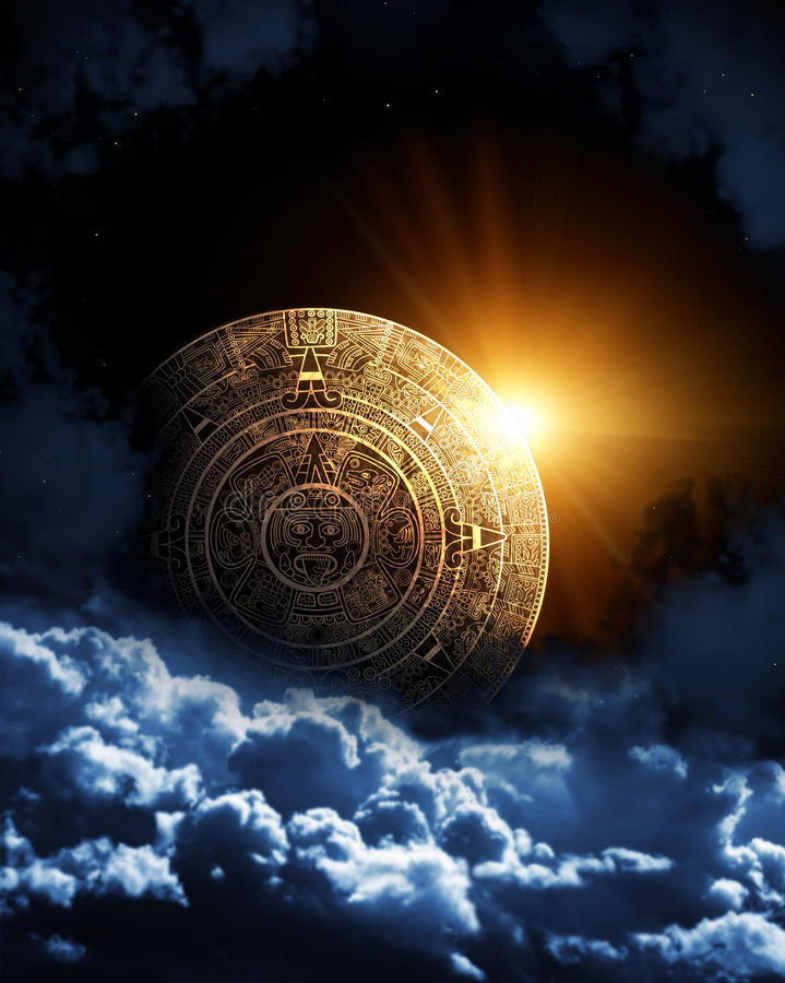 Maya prophecy. Vertical background with Maya calendar and space cloud vector illustration