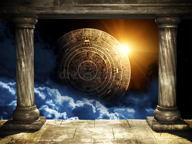 Maya prophecy. Frame with two old columns and Maya calendar royalty free illustration