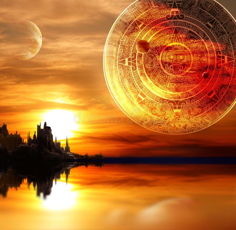 Maya prophecy. Fantasy landscape and Maya calendar vector illustration
