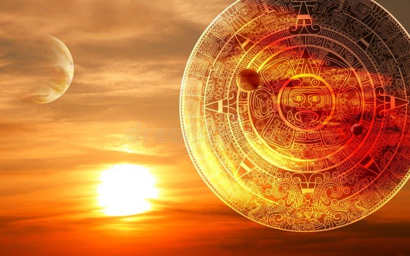 Maya prophecy. Fantasy sunset and Maya calendar stock illustration