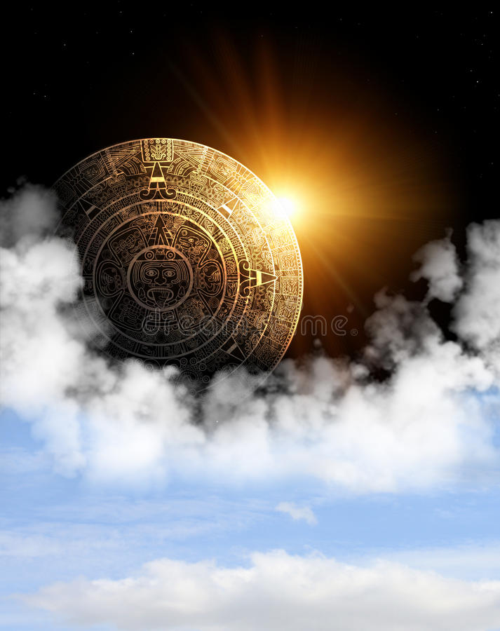 Maya prophecy. Vertical background with Maya calendar and space cloud royalty free illustration