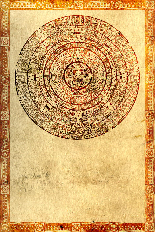 Maya prophecy. On ancient parchment royalty free illustration