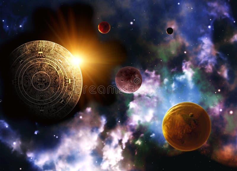 Maya prophecy. Horizontal background space scene royalty free illustration