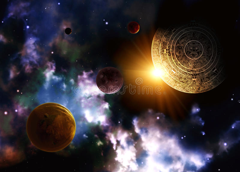 Maya prophecy. Horizontal background with space scene royalty free illustration