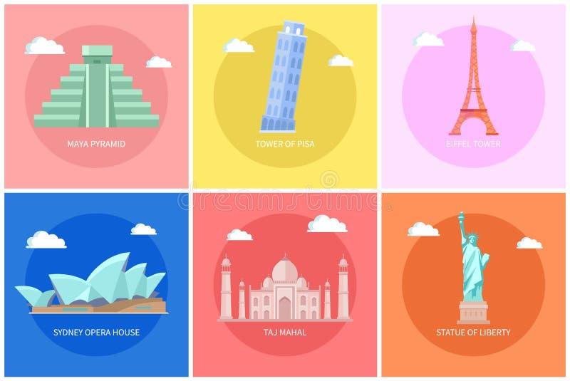 Maya Pyramid Eiffel Tower Vector illustration stock illustrationer