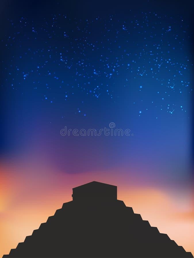Maya Pyramid na noite ilustração royalty free