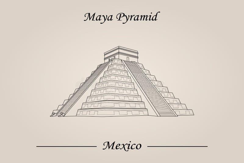 Maya Pyramid, templo de Kukulkan Atrações do mundo ilustração royalty free