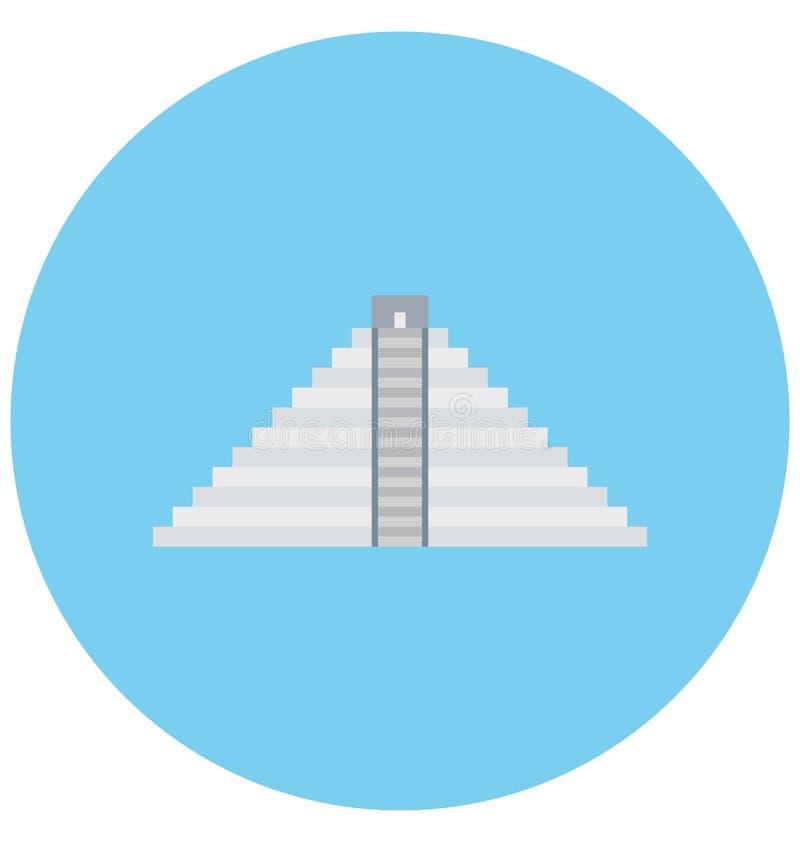 Maya Pyramids Illustration Color Vector isolerade redigerbart för symbol lätt och specialt bruk för fritid, lopp och turnerar royaltyfri illustrationer
