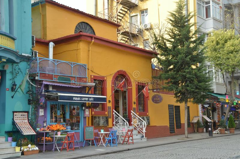 Maya`s corner cafe. ISTANBUL, TURKEY - DEC 22, 2018 - Maya`s corner cafe in Istanbul, Turkey stock photos