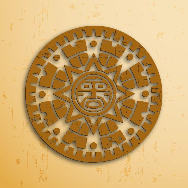 Maya sun. Abstract stone look maya sun symbol on beige background royalty free illustration