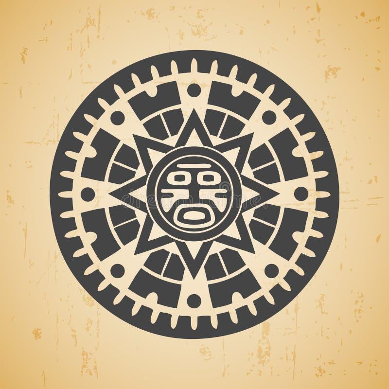 Maya sun. Abstract stylized maya sun symbol on beige background vector illustration