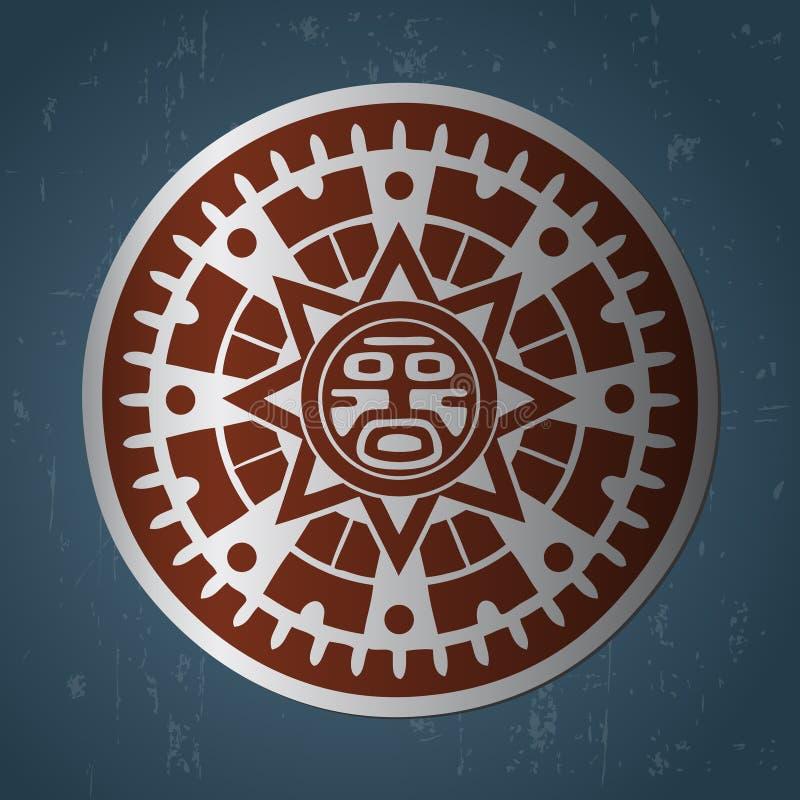 Maya sun. Abstract stylized maya sun symbol on dark blue background royalty free illustration