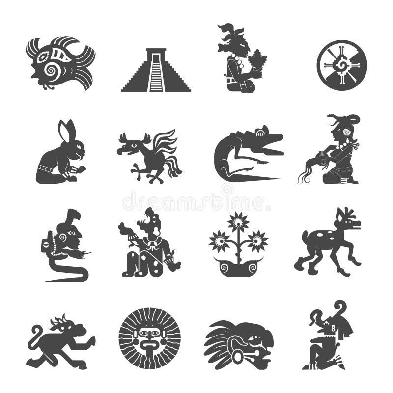 Maya Symbols Flat Icons Set stock de ilustración