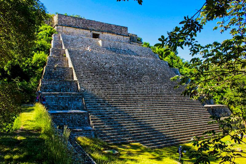 Maya temple ruins in yucatan. Chichen, mexican, stone, itza, mexico, ancient, riviera, sacred, monument, el, castillo, roo, excavation, building, sacrifice royalty free stock image