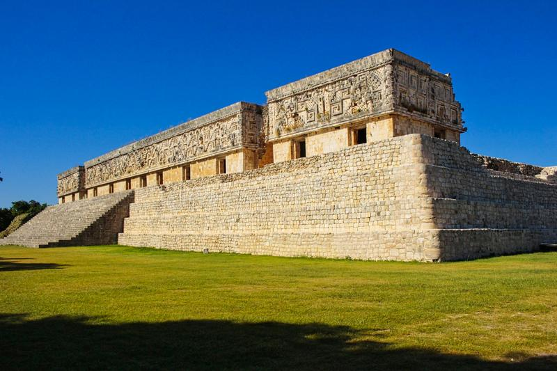 Maya temple ruins in yucatan. Chichen, mexican, stone, itza, mexico, ancient, riviera, sacred, monument, el, castillo, roo, excavation, building, sacrifice royalty free stock images