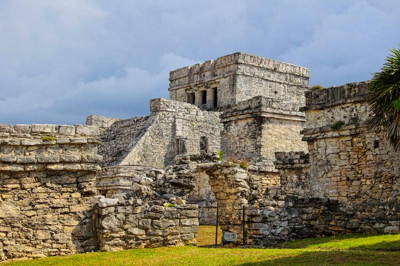 Maya temple ruins in yucatan. Chichen, mexican, stone, itza, mexico, ancient, riviera, sacred, monument, el, castillo, roo, excavation, building, sacrifice stock photography