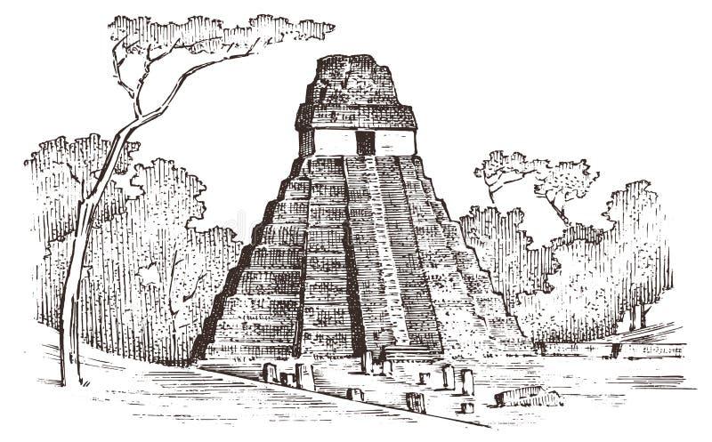 Maya Vintage pyramid Aztec kultur Forntida monokromma Mexico Landskap för bakgrund för etikettlogoemblem inristad hand stock illustrationer