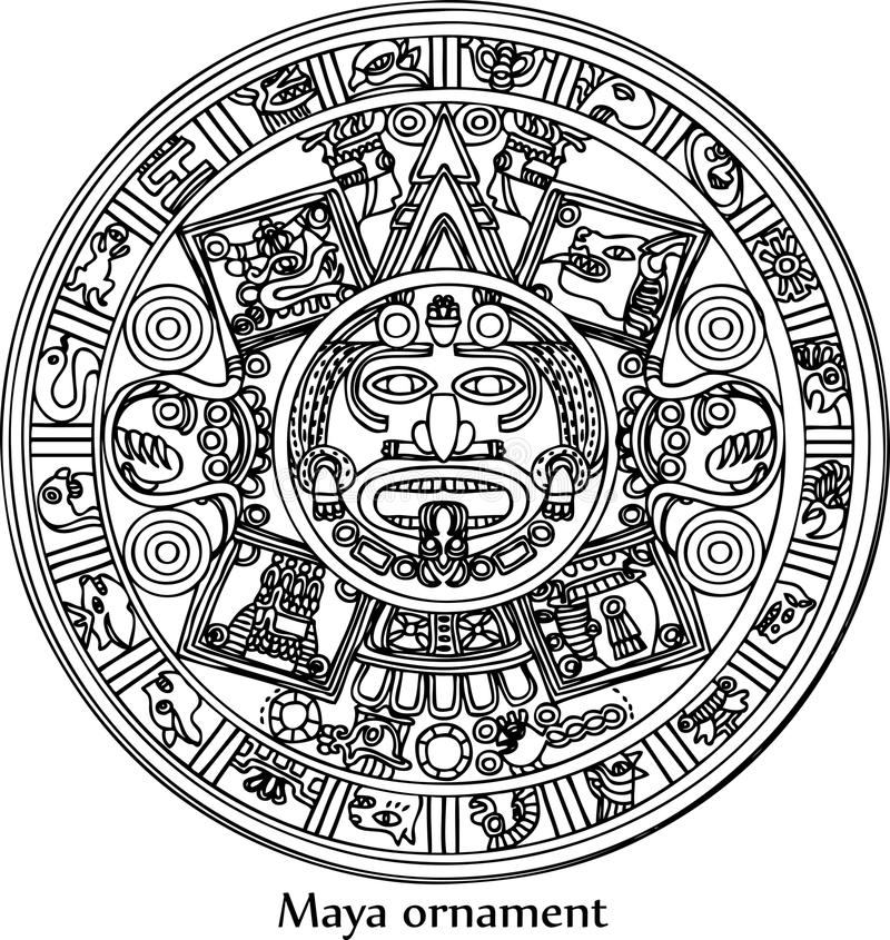 Maya Zodiac Card With Ethnic Ornament Stock Vector Illustration