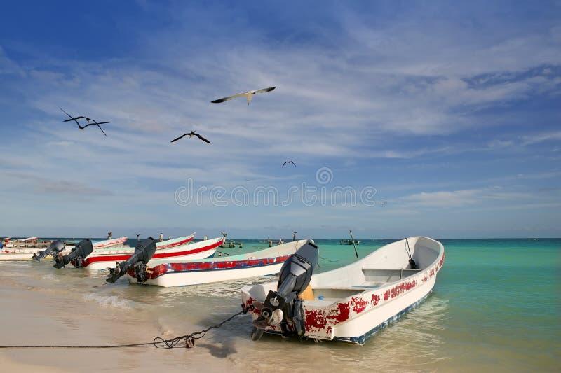 Mayaboote riviera-Mexiko Puerto Morelos lizenzfreie stockfotos