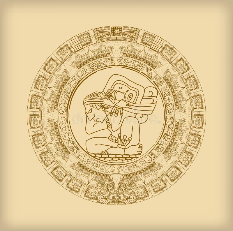Mayakalender av Mayan eller Aztec hieroglyftecken stock illustrationer
