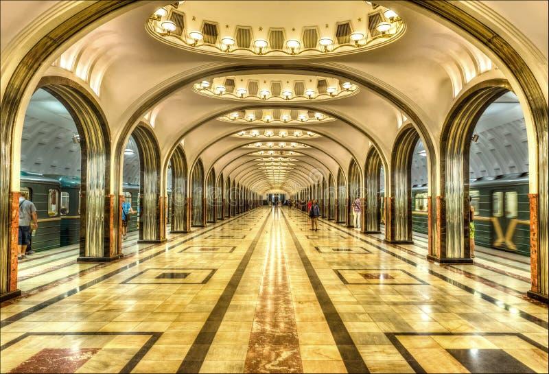 Mayakovskaya-Metro-Station, Moskau lizenzfreies stockfoto