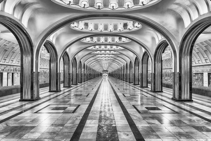 Mayakovskaya subway station in Moscow, Russia royalty free stock photo