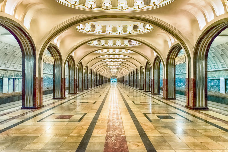 Mayakovskaya subway station in Moscow, Russia. MOSCOW - AUGUST 22, 2016: Mayakovskaya subway station in Moscow, Russia. A fine example of Stalinist architecture stock images