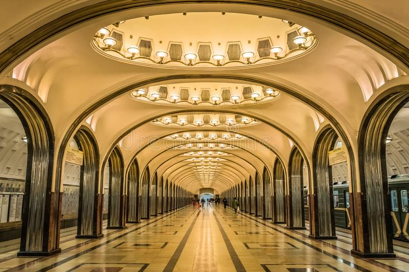 Mayakovskaya subway station in Moscow, Russia. royalty free stock photography