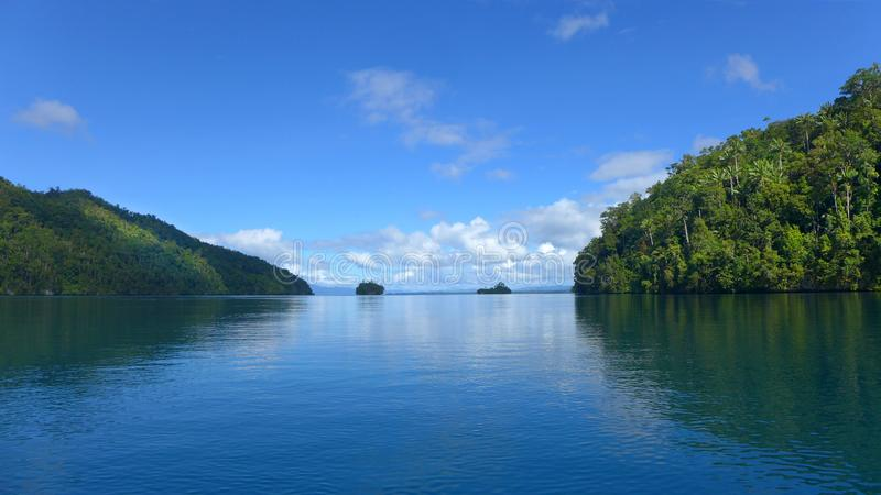 Mayalibit bay in Waigeo. Raja Ampat. View of the Jungle on the Mayalibit bay in Waigeo. Raja Ampat, West Papua, Indonesia royalty free stock photography