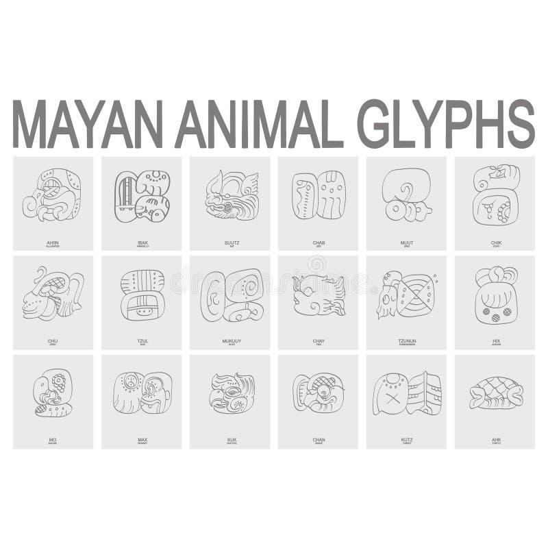 Mayan animal glyphs. Vector icon set with mayan animal glyphs vector illustration