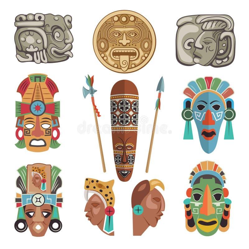 Mayan antika symboler och bilder stock illustrationer