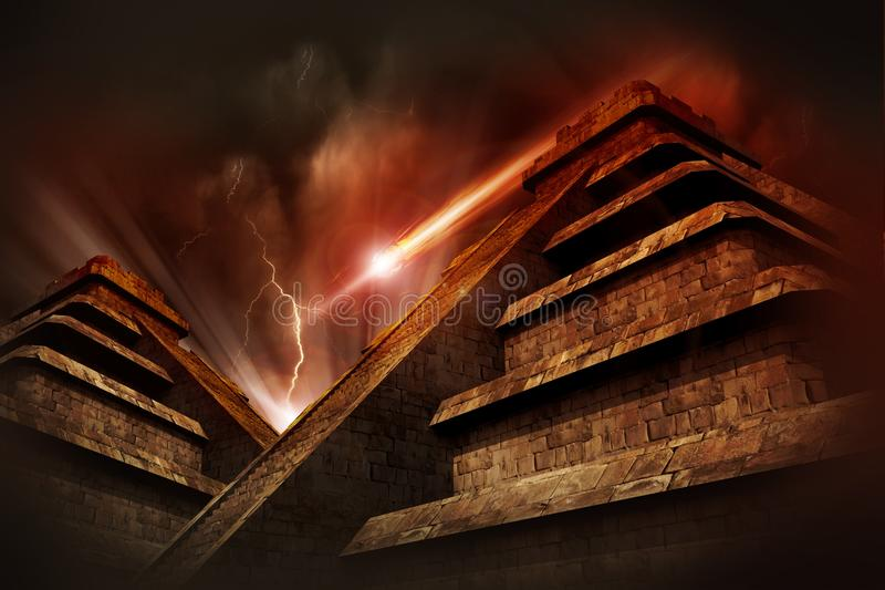 Mayan Apocalypse. Mayan Pyramids, Lightning Storm and Asteroid Coming from the Space. Warm Red-Browny Movie Like Color Tones. Cool Armageddon Theme royalty free stock photos