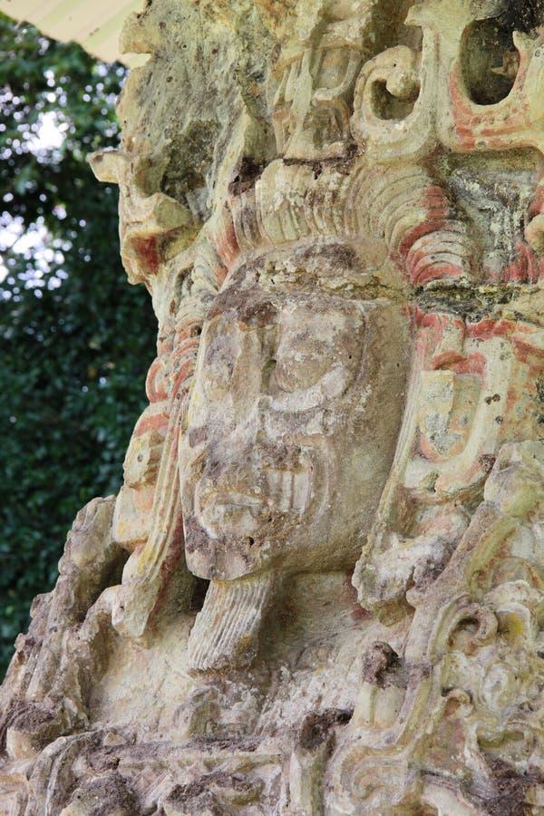 Mayan archeological site of Copan, Honduras: close view of Stela D (736 AC). UNESCO World Heritage stock photography
