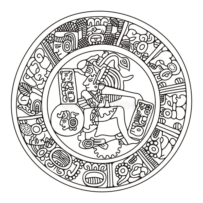 Mayan artwork. An illustrated piece of Mayan artwork