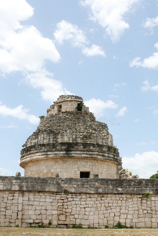 Mayan Astronomy. An ancient mayan observatory used to view the stars. The mayans were an advanced culture and had a vast knowledge of astronomy and lunar events royalty free stock photo
