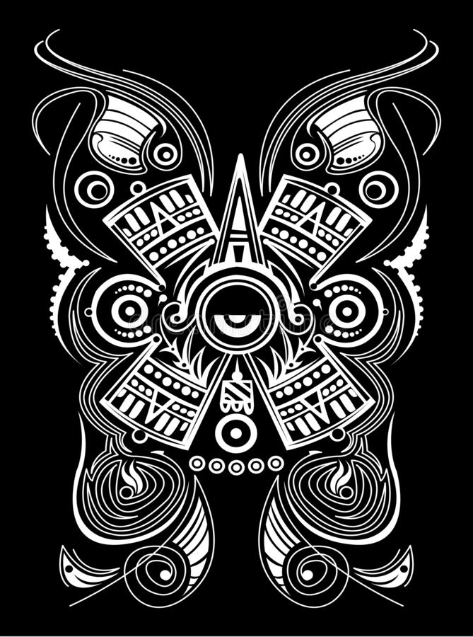 Mayan Aztec Concept Stylized Symbol Vector illustration, Tattoo Tribal Style. Eps available stock illustration
