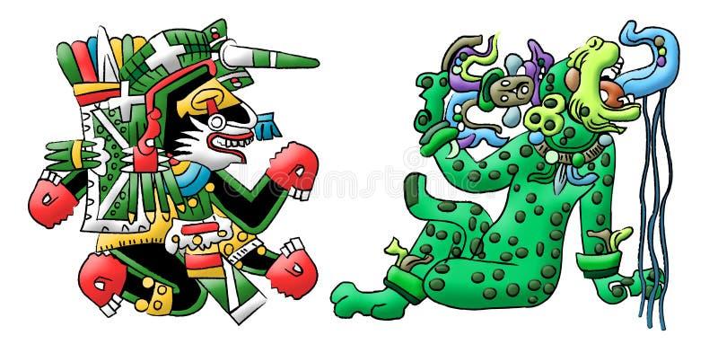 Download Mayan- Aztec Interpretations Of A Dog And Jaguar Stock Illustration - Illustration of civilizations, design: 22152638