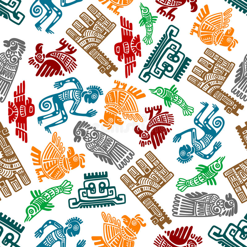 Mayan and aztec tribal totems seamless pattern vector illustration