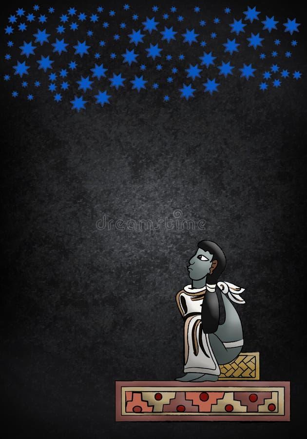 Mayan Azteekse Astronoom royalty-vrije illustratie
